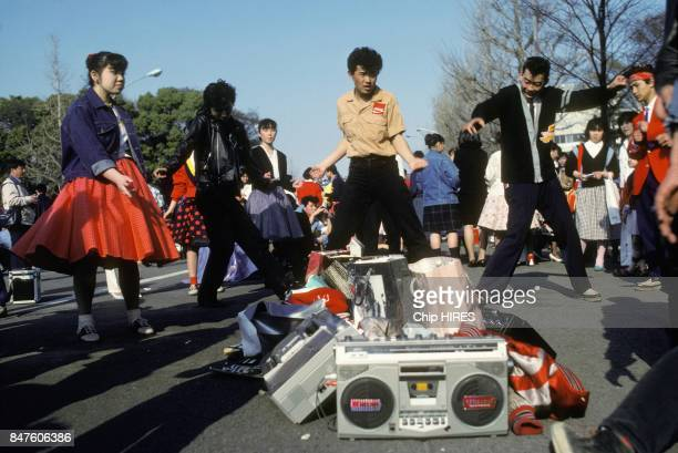 Young dancers in Harajuku area enjoying weekend in April 1982 in Tokyo Japan
