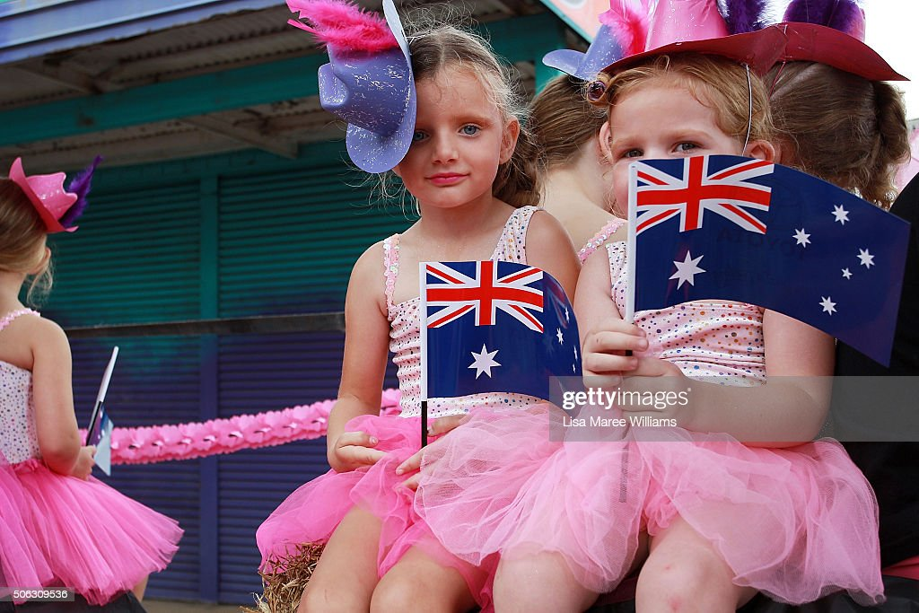 Young dancers prepare to take part in the Tamworth Country Music Festival Calvacade on January 23, 2016 in Tamworth, Australia. The Tamworth Country Music Festival is a 10 day event showcasing over 700 artists and draws large crowds enjoying the annual Australia Day weekend, culminating in the Golden Guitar Awards which celebrates the best of Australian country music.