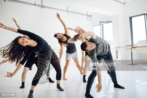 Young dancers rehearsing at ballet studio