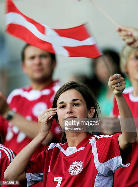 A young Danish fan watches the Women's UEFA European Championship 2005 Group A match between Denmark and England at Ewood Park on June 8 2005 in...