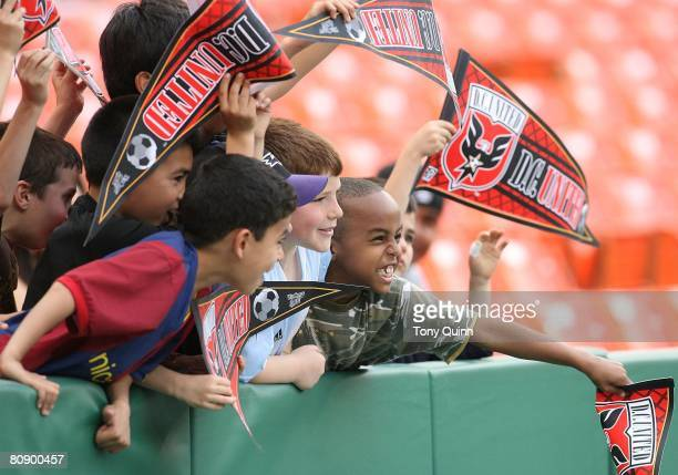 Young DC United fans before the start of an MLS match against Real Salt Lake at RFK Stadium on April 26 2008 in Washington DC