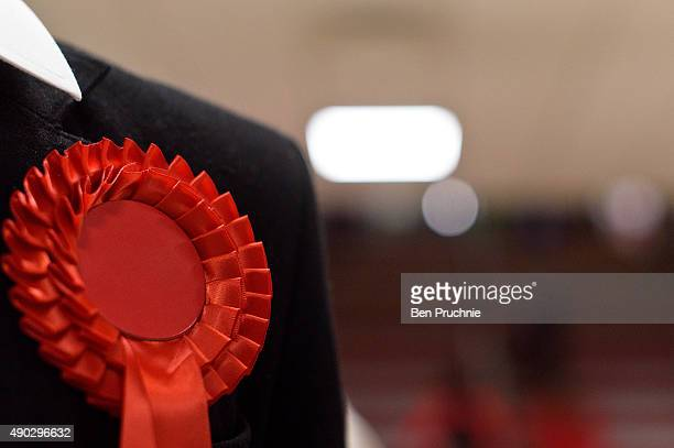 A young delegate wears a red rosette during the first day of the Labour Party Autumn Conference on September 27 2015 in Brighton England The four day...