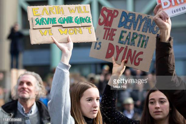 Young demonstrators attend protest during 7th Brussels youth climate march on February 21 2019 in Brussels Belgium