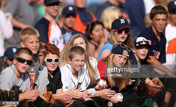 Young Detroit Tigers fans line up for autographs prior to the start of the game against the Toronto Blue Jays on July 3 2015 at Comerica Park in...