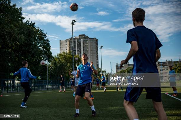 Young Dinamo Zagreb players take part in a training session in Zagreb on July 14 2018 Whether it's the World Cup final match or not the largest...