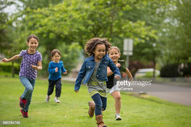 Young diverse girls playing together