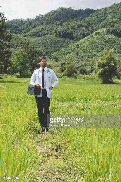 young docter pointing height destination to future in the green. - morbillivirus stock pictures, royalty-free photos & images