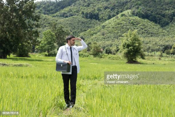 young docter pointing height destination to future in the green. - dokterstas stockfoto's en -beelden