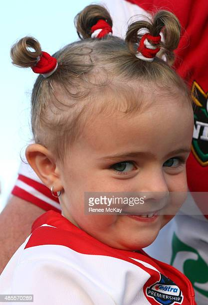 A young Dragons fan shows her support during the round seven NRL match between the St George Illawarra Dragons and the New Zealand Warriors at WIN...