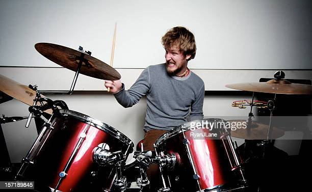 Young Drummer Playing Drums With Passion
