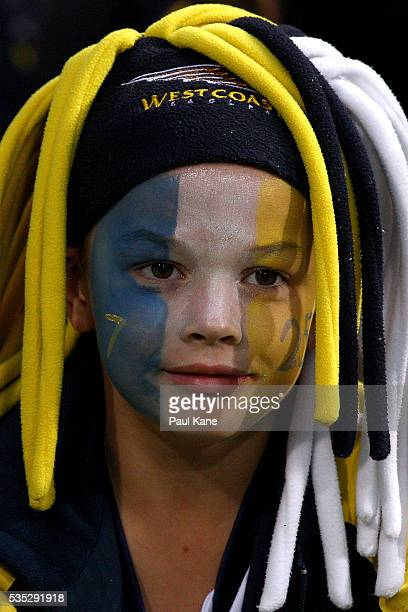 A young Eagles fan shows his support during the round 10 AFL match between the West Coast Eagles and the Gold Coast Suns at Domain Stadium on May 29...