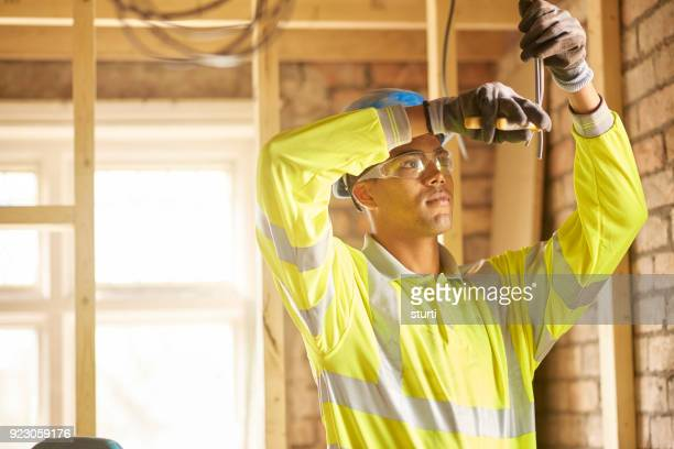 young electrician on site