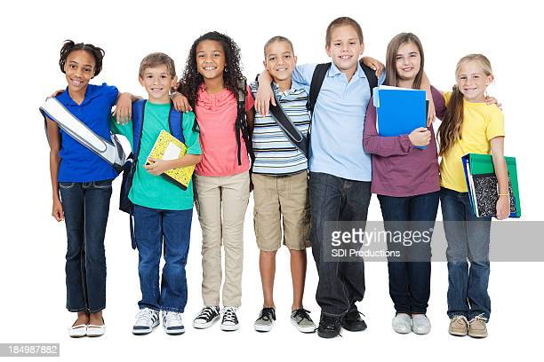 Young elementary friends on white background