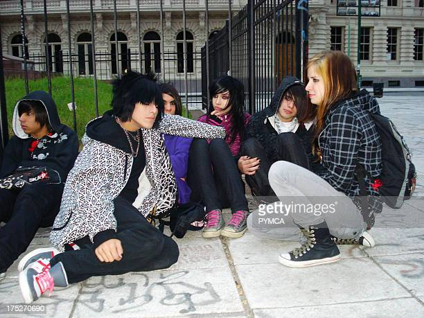 Young Emo kids hanging out in Buenos Aires Argentina 2009
