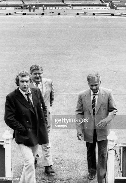 Young England captain David Lloyd Lancashire CCC Secretary Jack Wood and West Indies captain Rohan Kanhai leaving the pitch after the decision that...