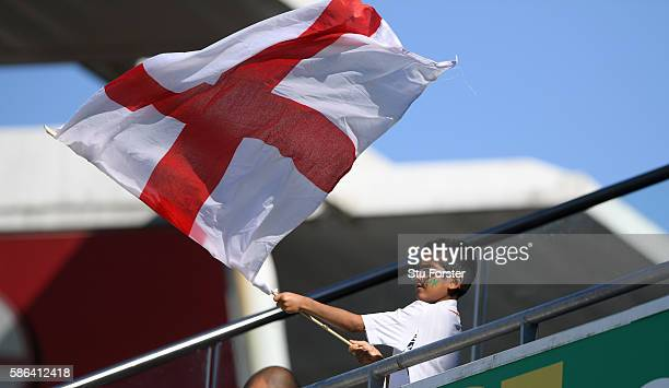 A young England fan enjoys himself during day 4 of the 3rd Investec Test match between England and Pakistan at Edgbaston on August 6 2016 in...