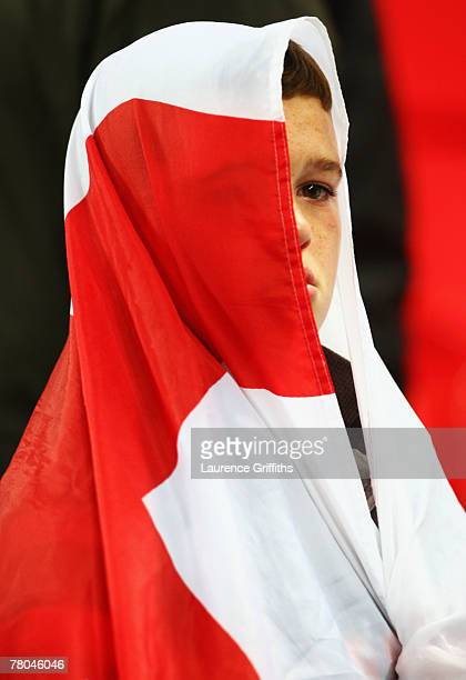 A young England Fan looks dejected after the Euro 2008 Group E qualifying match between England and Croatia at Wembley Stadium on November 21 2007 in...