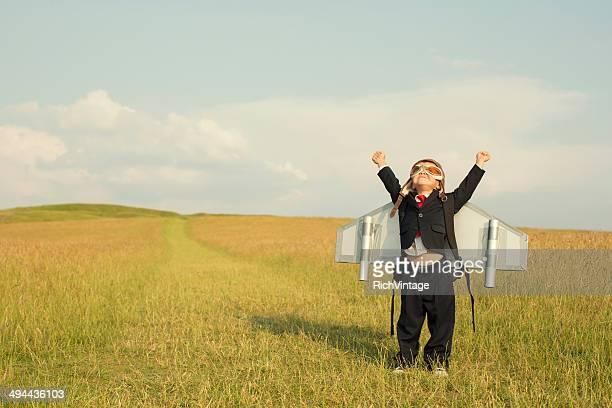 Young English Boy Businessman Wearing Jetpack