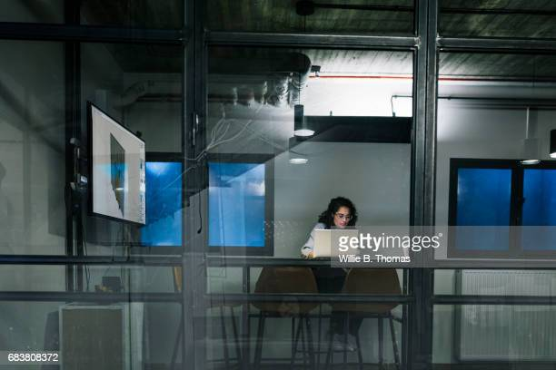 Young Entrepreneur Working By Herself Late In The Evening