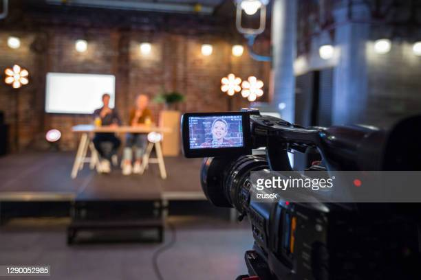 young entrepreneurs during online seminar - press conference stock pictures, royalty-free photos & images