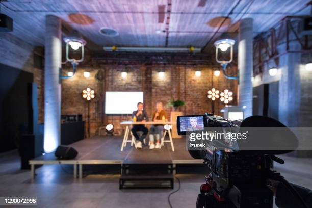 young entrepreneurs during online seminar - interview event stock pictures, royalty-free photos & images