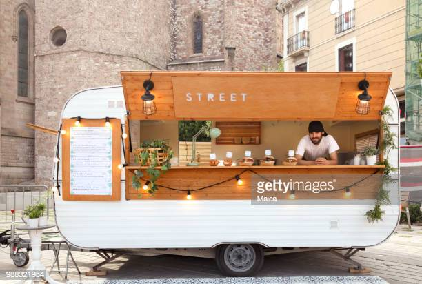 young entrepreneurs food truck - vintage restaurant stock pictures, royalty-free photos & images