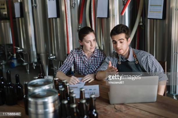 young entrepreneurs working at a brewery - brewery stock pictures, royalty-free photos & images