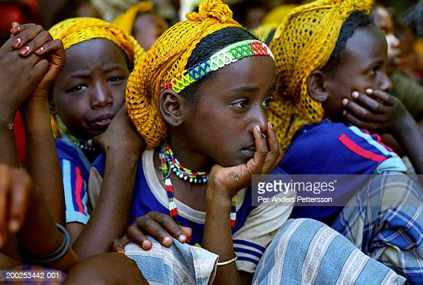 young ethiopian girls in erer valley, ethiopia - per-anders pettersson stock pictures, royalty-free photos & images