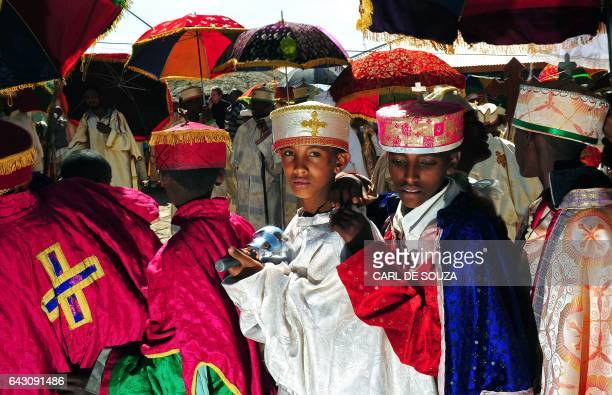 Young Ethiopian Orthodox Christians are pictured during the annual festival of Timkat in Lalibela Ethiopia which celebrates Epiphany the Baptism of...