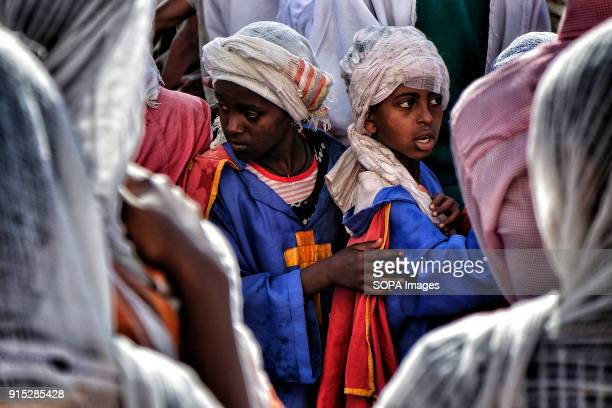 Young Ethiopian Orthodox Christians during the procession The annual Timkat festival an Orthodox Christian celebration of Epiphany remembers the...