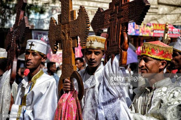 Young Ethiopian Orthodox Christians pray during the procession The annual Timkat festival an Orthodox Christian celebration of Epiphany remembers the...