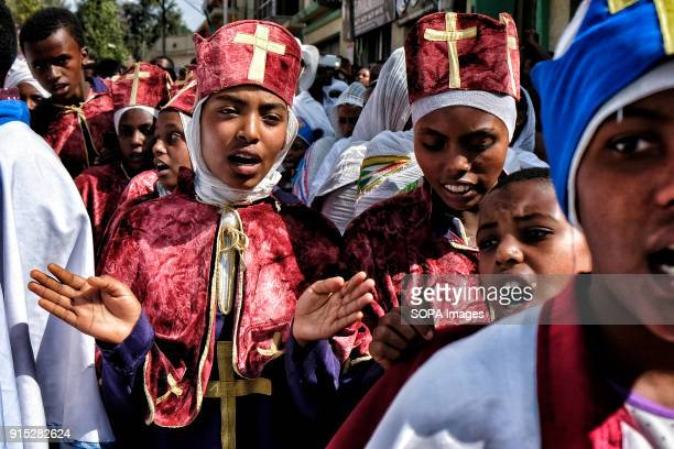 Young Ethiopian Orthodox Christians sing during the procession The annual Timkat festival an Orthodox Christian celebration of Epiphany remembers the...