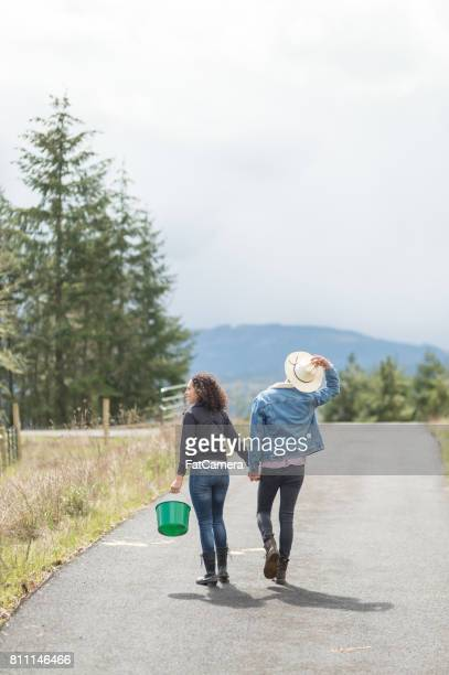 Young ethnic couple walking down rural road holding hands