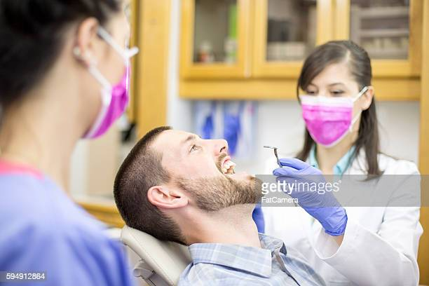 young ethnic female dental hygienist cleaning teeth - molar stock pictures, royalty-free photos & images