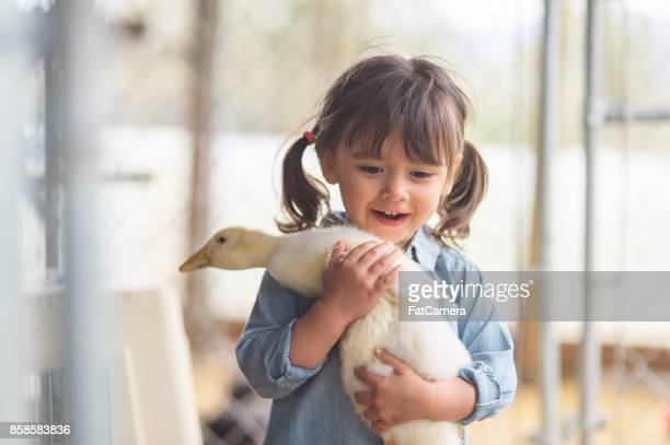 Young ethnic girl poses with her pet chicken