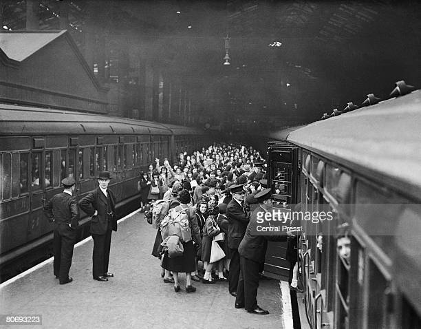 Young evacuees leave London from Liverpool Street Station at the start of World War II bound for the relative safety of the countryside 1st September...