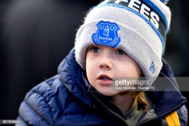 A young Everton fan during the Premier League match between Everton and Chelsea at Goodison Park on December 23 2017 in Liverpool England