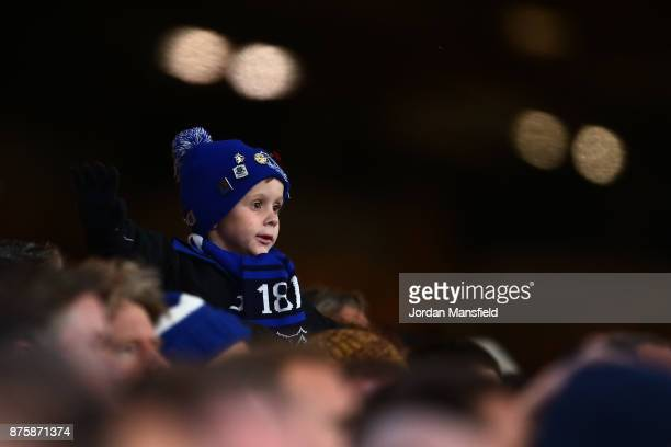 A young Everton fan watches on during the Premier League match between Crystal Palace and Everton at Selhurst Park on November 18 2017 in London...