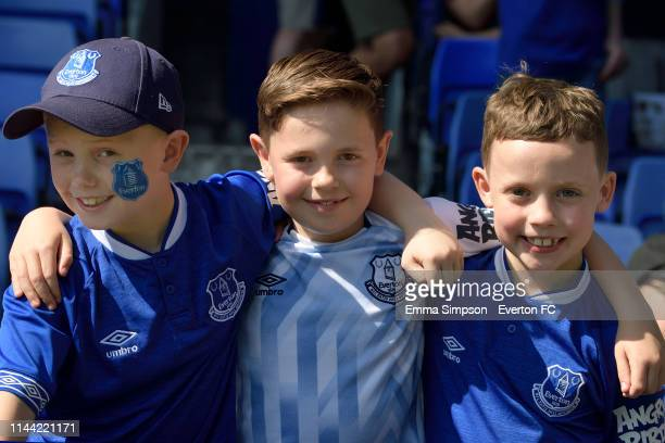 Young Everton fans before the Premier League match between Everton FC and Manchester United at Goodison Park on April 21 2019 in Liverpool England