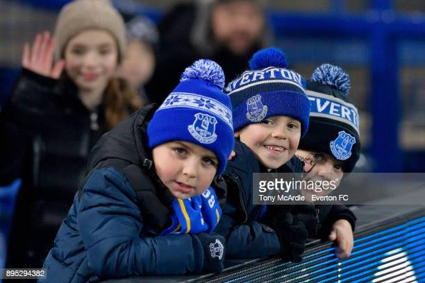 Young Everton fans before the Premier League match between Everton and Swansea City at Goodison Park on December 18 2017 in Liverpool England
