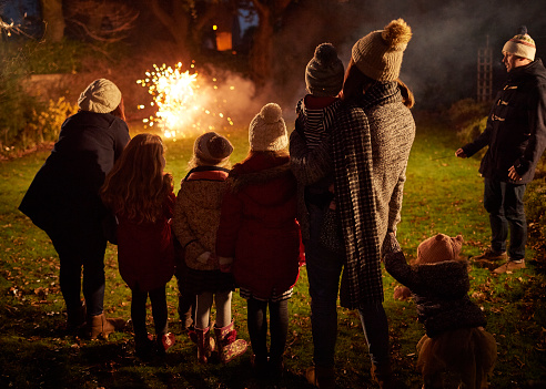 Young family and friends watching fireworks - gettyimageskorea