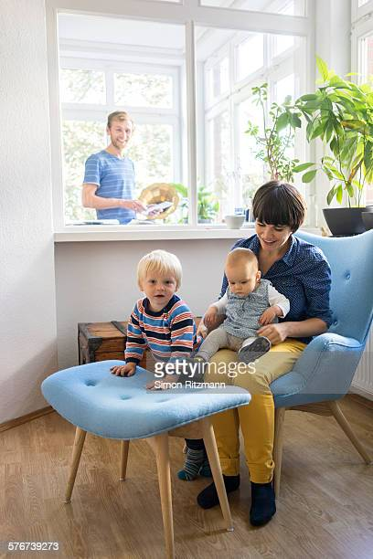 Young family at home.