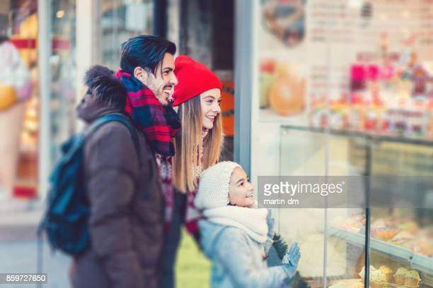 Young family at the candy store