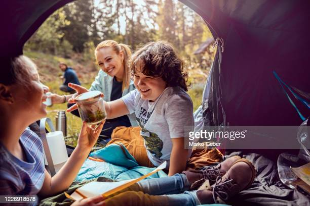 young family camping - camping stock pictures, royalty-free photos & images