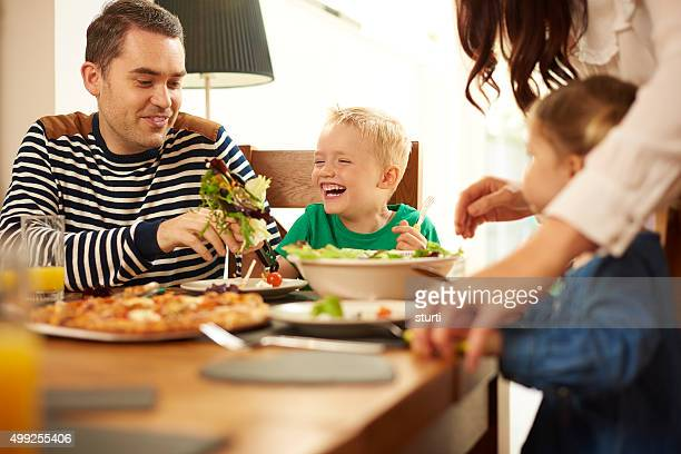 young family eating at the table