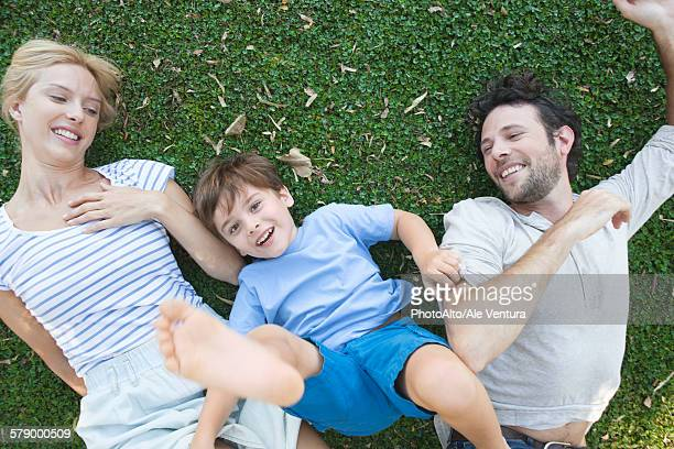 Young family enjoying carefree afternoon playing together