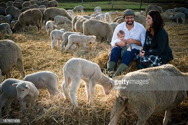 Young family enjoying the farm life