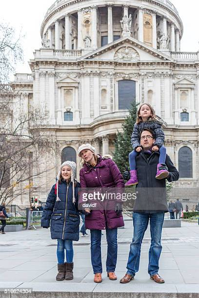 Young Family Exploring London as Tourists on Vacation