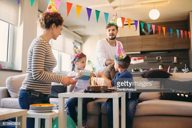 family happiness birthday celebration at home