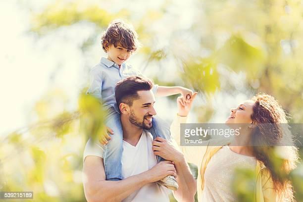 Young family having fun outdoors.